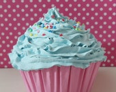 Fake Sweet Cupcake with light blue frosting with candies for decoration (kitchen, first birthday party,christmas tree ornament ,bakery,children room, wedding,coffee shop) -Blue icing ,unique gifts for the holidays