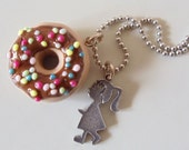 Donuts necklace - miniature Polymer Clay doughnut with hot chocolate and sprinkles Pendant ball chain - unique gifts for birthday ,holidays