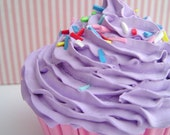 FAKE CUPCAKE Realistic look  for photography session props ,christmas tree ornament, first birthday party ,cake smash session , purple icing