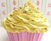 FAKE CUPCAKE for photography session props shoot ,first birthday party centerpieces bakery,girls room yellow icing unique gifts
