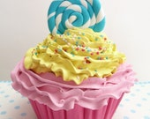 Lollipop Cupcake Fake Cupcake  Lollipop Candy swirl lollipop birthday party ,baby shower loliipop decoration or for first picture pink icing