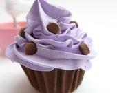 CHRISTMAS CUPCAKE fake cupcake christmas tree ornament cupcake magnet cupcake charm cupcake , purple Icing mini size