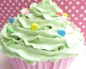 Realistic fake cupcake for photography session props shoot ,first birthday party centerpieces bakery,girls room green icing unique gifts