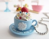 "princess tea cup necklace ""teacupcake"" with fake cupcake frosting marie antoinette tea party blue Wedgwood cup"