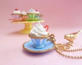 """Princess Tea Cup Necklace """"teacupcake"""" with fake cupcake frosting marie antoinette tea party blue cup with gold trim"""