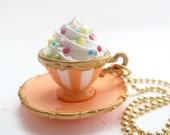 Fairy Tales Cup Of Coffee Necklace with fake cupcake frosting alice in wonderland  tea party orange cup with gold trim