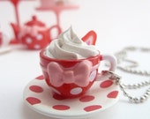 "Tea Cup Necklace  ""teacupcake"" with fake cupcake frosting red and white polka dot cup great for tea party"