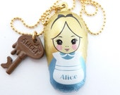 Alice In Wonderland Necklace with Chocolate key charm Babushka Matryoshka Russian Chocolate bar great for theme tea party