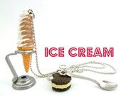 Ice cream  waffle cone necklace with Spoon Charm candy land summer necklace graet gifts for girls birthday party favors