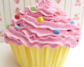 CUPCAKE - fake cupcake / faux cupcake pink frosting with yellow cupcake liner