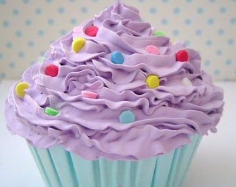 Centerpieces cupcake - FAKE CUPCAKE centerpieces graet for cupcake stand , cake stand  cake pedestal stand purple icing