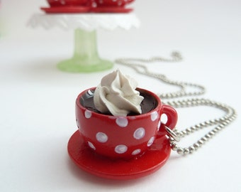 cup of coffee necklace alice in wonderland miniature polka dot red and white with whipped cream silver ball chain necklace