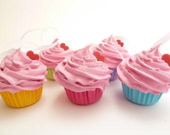 Christmas Ornaments Set Of 5 Fake Mini Cupcakes  pink icing