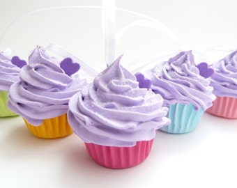 Cupcakes Christmas Ornaments Set Of 5 Fake Mini Cupcakes purple frosting