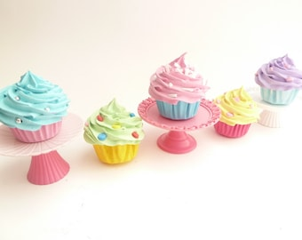 Xmas Ornaments Set Of 5 Fake Mini Cupcakes Christmas Tree Decoration marie antoinette Theme assorted colores