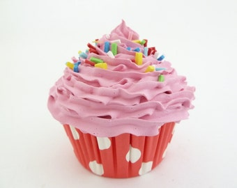 CUPCAKE CANDY LAND - fake cupcake candy shop decoration, cupcake shop, bakery decoration red polka dot retro liner
