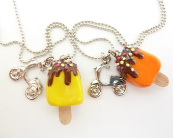 Summer necklace - Popsicle Necklace Polymer Clay fake Popsicle and scooter Charm girls birthday favors party PICK YOUR COLOR