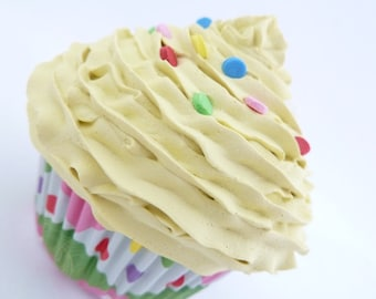 Fake Cupcake Stocking  Christmas yellow icing unique gifts for the holidays and Perfect stocking stuffer cupcake