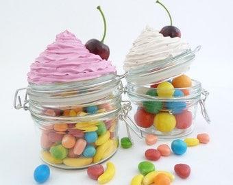 CANDY JAR, fake cupcake box , jewelry box, Cupcake box , jam jar ,trinket  box ,storage box ,cookie jar, glass container