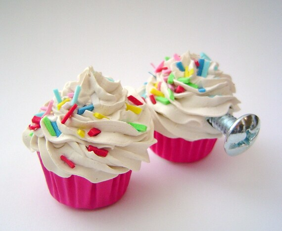 Door Knobs Cupcakes Pulls Set Of 2 Mini Fake Cupcakes