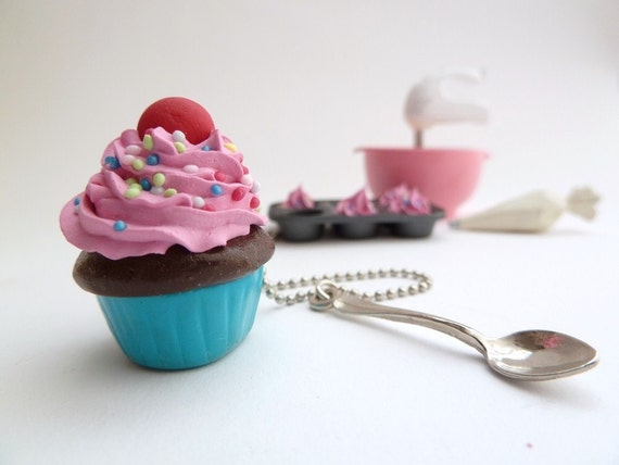 Katy Perry Cupcake Necklace polymer clay  fake cupcake with spoon Charm pink frosting great prop for katy perry costume