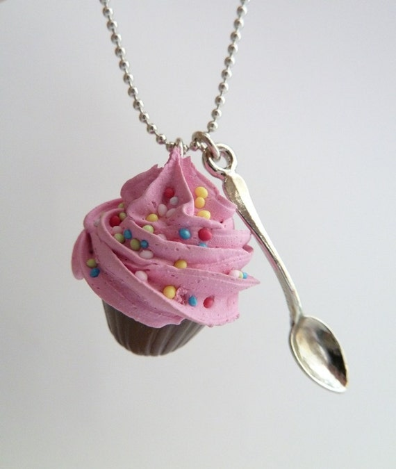 fake Cupcake necklace and small spoon Charm alice in wonderland with silver ball chain pink frosting ,birthday girls party
