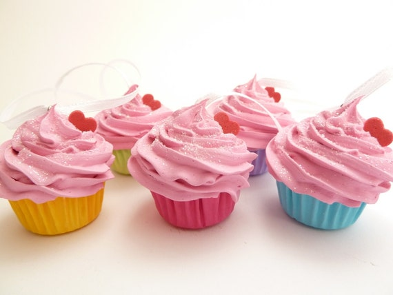 Christmas Ornaments Set Of 5 Fake Mini Cupcakes  pink icing