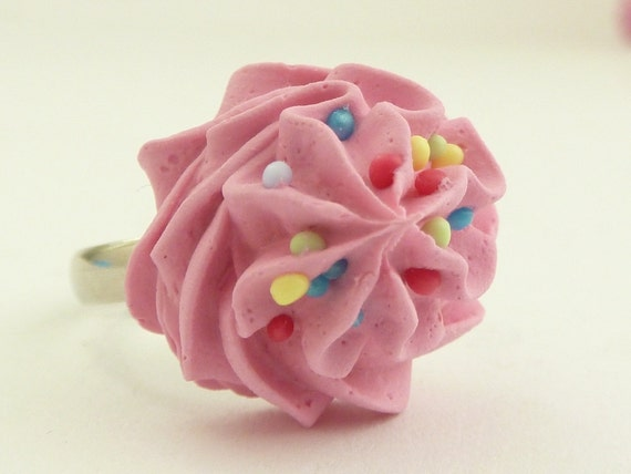"""The Bakers ring"""" Oops frosting on my hand """" sweet pink cupcake  icing ring adjustable silver kawaii ring"""