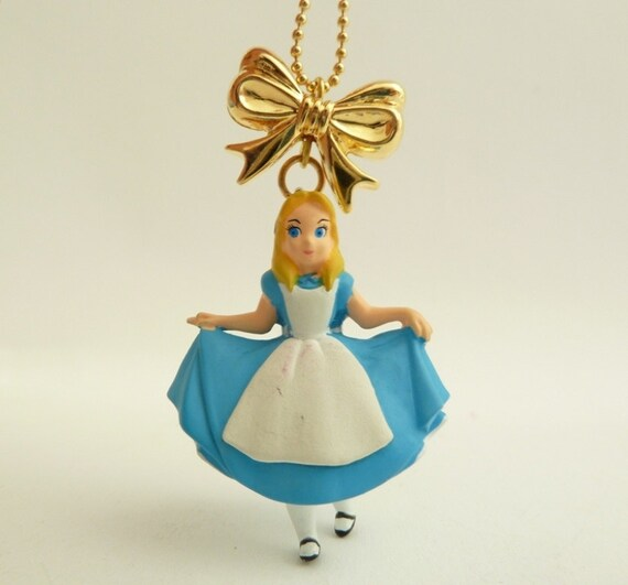Alice In Wonderland Necklace with gold bow charm great for theme tea party