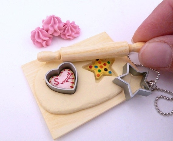 "The Bakers Necklace ""cookies time"" Miniature Board with dough ,cookies ,cookies Cutter and rolling pin charm"