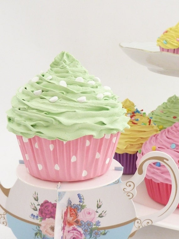 Baby Shower Favor Cupcake Realistic Fake Cupcake for Tea Party, alice in wonderland theme party , bridal shower favor green frosting