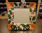 Angled Square Holly Holiday Plate