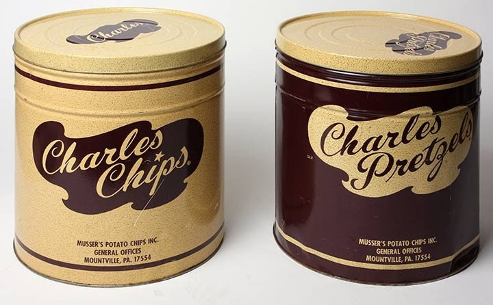 2 Tins Big Vintage CHARLES Chips And Pretzels Tin By