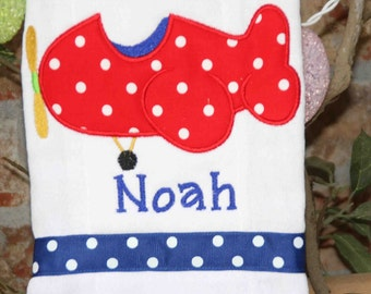 Personalized Baby Boy Airplane Burp Cloth Monogrammed