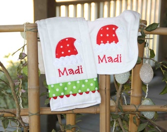 Personalized Santa Hat Bib & Burpcloth Set