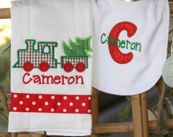 Christmas train bib & burpcloth set