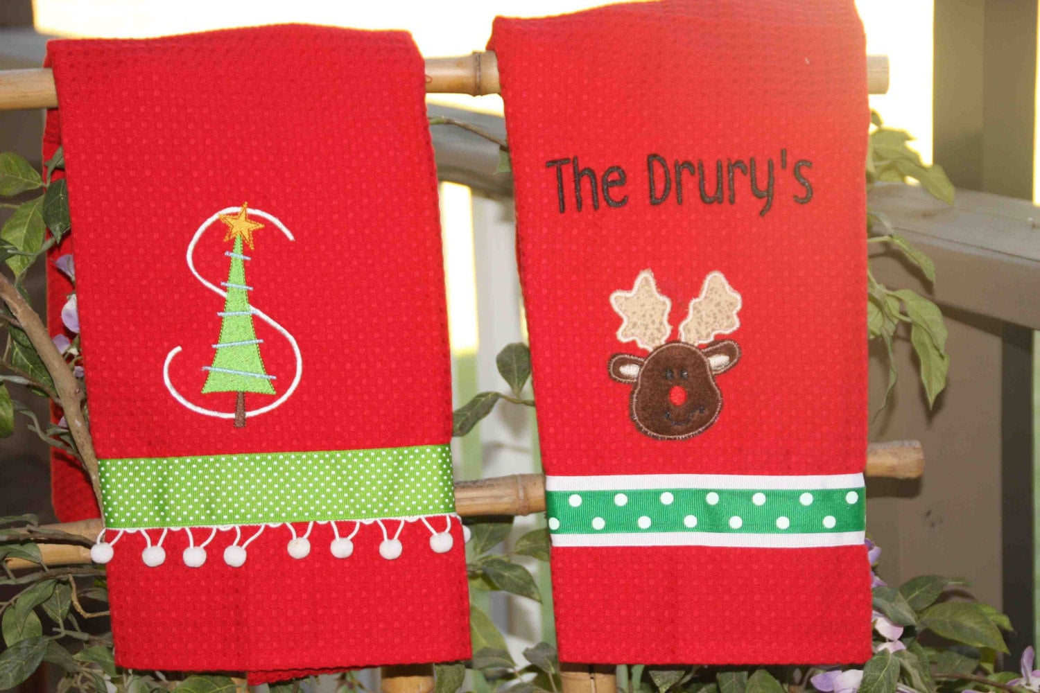 Personalized Christmas Towels Kitchen Monogrammed Teacher