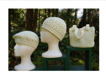 Crochet Pattern PDF - Beret, Beanie and Bag - PA-126