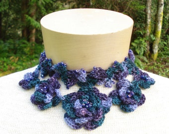 "Crochet Pattern PDF - ""Flowers"" Jewelry Set - PA-140"