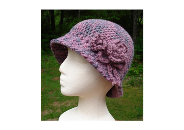 Crochet Cloche Hat Brim Pattern : Crochet Pattern PDF Down Brim Cloche PA-107