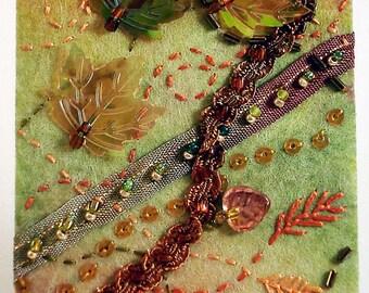 Autumnal breeze fiber art ACEO ATC ooak