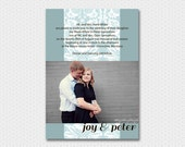 Floral Ribbon, a Printable Wedding Invitation with engagement photo