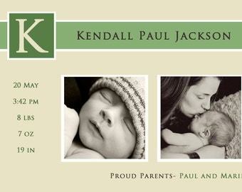 Printable Baby Announcement, creamy emerald - Print at Home