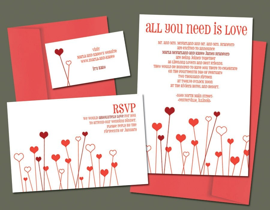 All You Need Is Love Wedding Invitations: All You Need Is Love Printable Wedding Invitation By Nraevsky