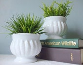 Two Vintage Milk Glass Planters with Classic Design