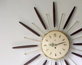 Vintage Starburst Wall Clock, 1960's Lux, battery operated
