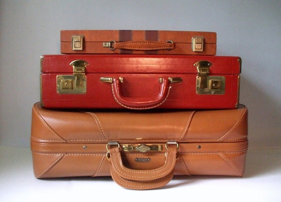 1940's Leather Suitcase, Vintage
