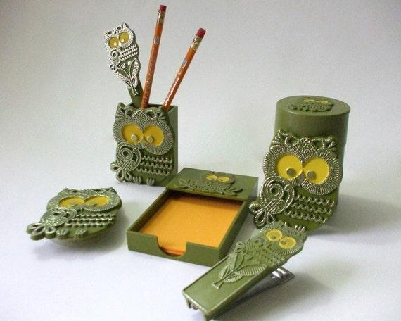 Vintage Owl Desk Set, 7 Pieces