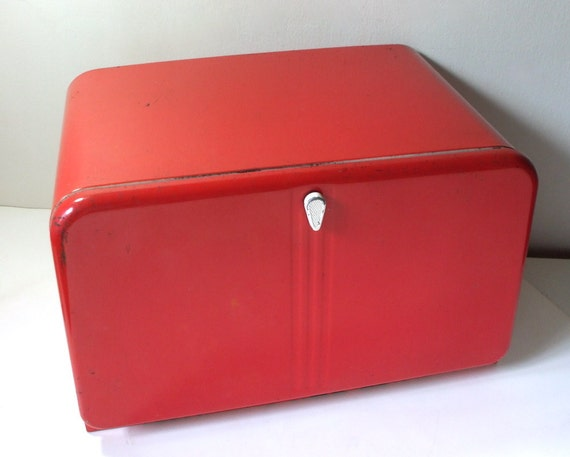 Vintage Red Metal Bread Box Lincoln Beauty Box By