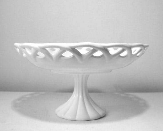Large Milk Glass Fruit Bowl with Pedestal Base